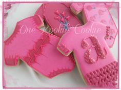 Pink Baby girl onsie cookies by One Kookie Cookie  www.facebook.com/onekookiecookie