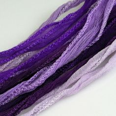 Fairy Ribbon Hand Dyed Silk Necklace Cord Purple Lavender