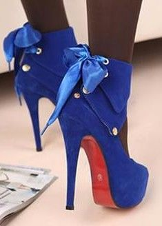Blue suede pumps.