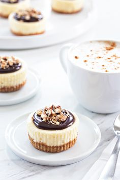 Mini Chocolate Pecan Cheesecakes #recipes #food #drink #cuisine #boissons #recettes