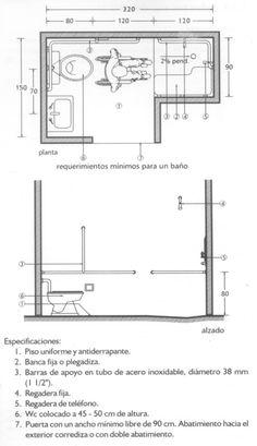 normas sillas de ruedas IMSS 03 Ada Bathroom, Handicap Bathroom, Bathroom Images, Bathroom Layout Plans, Bathroom Floor Plans, Architect Data, Handicap Accessible Home, Wc Design, Bathroom Dimensions