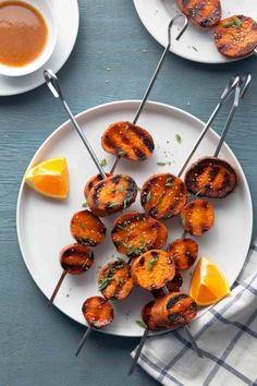 Miso-orange glazed grilled sweet potatoes cook up tender and creamy on ...
