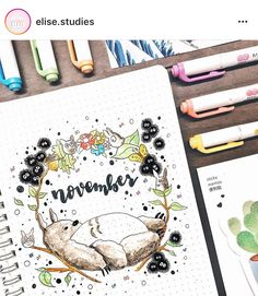 FABULOUS November Bullet Journal Themes {Cover pages and plan with me videos to inspire you!} FABULOUS November Bullet Journal Themes {Cover pages and plan with me videos to inspire you! Autumn Bullet Journal, Bullet Journal Planner, Bullet Journal Month, Bullet Journal Cover Page, Bullet Journal Themes, Bullet Journal Spread, Bullet Journal Inspo, Bullet Journal Layout, Journal Covers