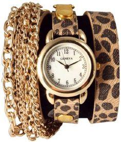 Triple Chain Wrap Watch-Cheetah Print