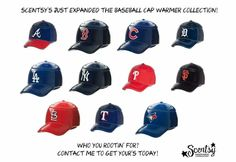 Scentsy just expanded the MLB baseball cap Warmer Collection with 5 new warmers! Is your favorite team on the list? If so, contact me to get yours today! Order at: http://ashleypaige.scentsy.us/
