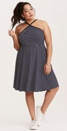 Plus Size Striped High Neck Strappy Dress