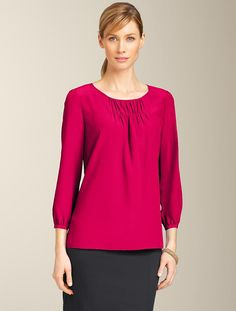 Ruched-Yoke Top. Silk crepe de chine. Three-quarter sleeves. Dry clean. Imported. $99.00