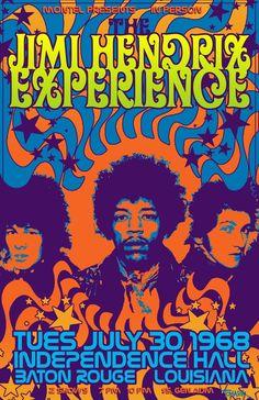 30.7.1968; the jimi hendrix experience; usa, baton rouge, independence hall…