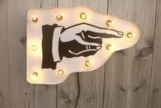 "Arrow hand sign marquee light. $105.00, via Etsy.Might need this to complete my ""If you can't stand the heat get out of the kitchen"" idea that I have in my head... ;)"