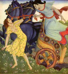 Pluto and Persephone by Edmund Dulac. Art Nouveau (Modern). illustration