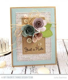 Just a Note Card featuring the new MFT Stamps Rolled Scalloped Rose Die-namics by Julia Stainton