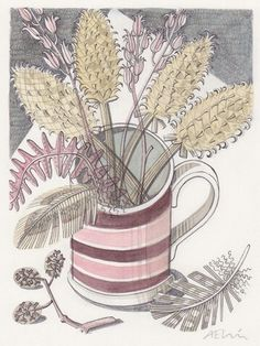 Mug with Teasels - watercolour drawing by Angie Lewin. Fine lines around the edge of the cup and plants. The colours are quite pale and pastel. Sketch Painting, Watercolor Drawing, Watercolor Paintings, Angie Lewin, You Draw, Flower Art, Graphic Art, Drawings, Art Ideas