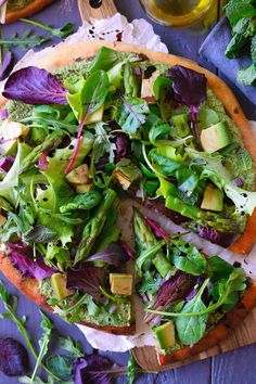 Green pizza with herbed vegan cashew cheese