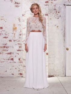 Another 2pc, gorgeous long sleeved lace top w/a lonk silky floeing skirt