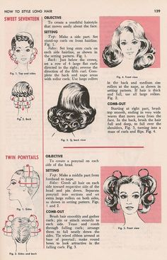 How to Style Long Hair. More retro .How to Style Long Hair. Vintage Curls, Look Vintage, Vintage Hair Combs, Vintage Ideas, Retro Updo, 1960s Hair, Wet Set, Hair Patterns, Curl Pattern