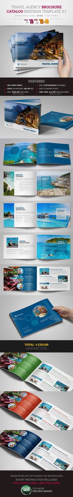 Travel Agency Brochure Catalog InDesign Template  - Corporate Brochures