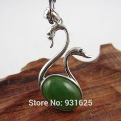 >> Click to Buy << 925 Silver Natural Green HeTian Yu Gem Inlay Pretty Swan Design Lucky Pendant + Chain Necklace + certificate Fine Jewelry #Affiliate