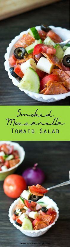 Smoked Mozzarella Tomato Salad {Easy Weight Watchers Summer Lunch Recipe} Smoked Mozzarella Tomato Salad is a healthy side dish combining the flavors of pepperoni, garlic, red onion, red wine vinegar and smoked mozzarella! via @tastesoflizzyt