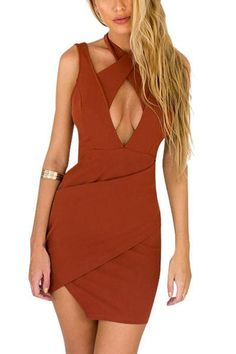 Strut your stuff in the ultra sexy Veronica bandage mini dress. This hot halter features a super deep-v neckline with cross over straps and a low dipped back. Go casual cool by paring it with a croppe