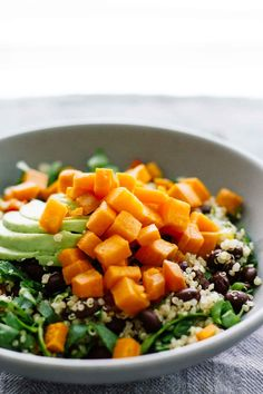 Roasted Sweet Potato Black Bean Salad! Vegan, vegetarian, gluten free, less than 30 minutes. Perfect for an easy weeknight meal!