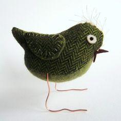Green Tweed Fabric Bird by Clootielugs