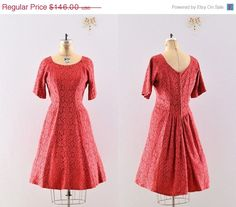 lace dress / vintage 50s party dress / 1950s red by PickledVintage, $116.80