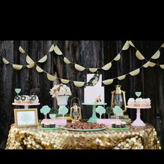 Stylish sequins candy buffet table via GWS