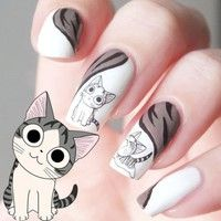 Lovely Sweet Water Transfer Cartoon Black Grey Cute Cat Nail Art Sticker Full Wraps Manicure Decal * Learn more by visiting the image link. Cat Nail Art, Cat Nails, Nail Art Designs, Gel Acrylic Nails, Nail Patterns, Manicure E Pedicure, Manicure Ideas, Nail Accessories, Office Accessories