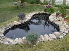 Fish Pond Gardens, Ponds For Small Gardens, Pond Landscaping, Ponds Backyard, Pond Waterfall, Garden Bridge, Exterior, Outdoor Structures, Landscape