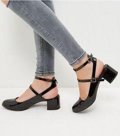 c5ab629cf2cc Wide Fit Black Patent Multi Strap Sling Back Pumps   New Look Wide Fit Shoes ,