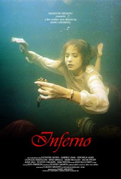 "Dario Argento's Inferno is kind of incoherent, but it is one of his best movies visually. The poster depicts the ""underwater ballroom"" set piece. Little Dorrit, Dario Argento, Classic Horror Movies, Movie Covers, Horror Movie Posters, Film Serie, Scary Movies, Film Stills, Film Director"