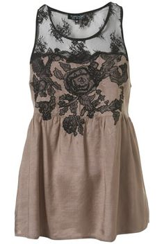 black and tan lace floral top