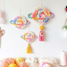 LOVE making these! Small, mini & medium with tassels custom ordered planet wall hangings. Swipe for a close up on the mini! Yarn Crafts, Diy And Crafts, Crafts For Kids, Arts And Crafts, Weaving Wall Hanging, Wall Hangings, Creative Crafts, Hand Dyed Yarn, Diy Art