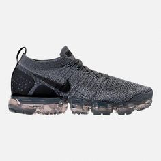 Right view of Women s Nike Air VaporMax Flyknit 2 Running Shoes in Dark  Grey White c5da6625c