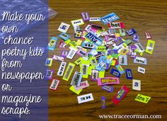 "Use Magazine or Newspaper Scraps for Creating ""Chance"" Poems - More on blog: Hands-on Poetry Activities"