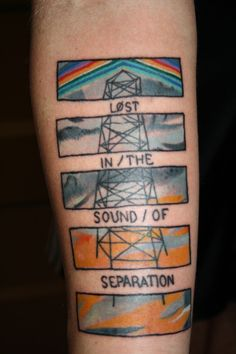 We are all lost in the sound, lost in the sound, lost in the sound of separation  Underoath has been one of my biggest inspirations and this album has meant so much to me. I never got to see them live but they truly did wonders for the world and for music. Thank you Underoath for everything. Done by Mike Shultz of Ink Therapy tattoo Indiana.