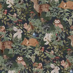 Woodlands Wallpaper - Charcoal / Roll