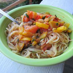 summer squash and tomato pasta