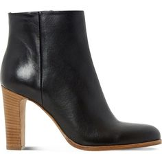 DUNE BLACK Oliva leather ankle boots (£165) ❤ liked on Polyvore featuring shoes, boots, ankle booties, bootie boots, high heel booties, zipper ankle boots, short boots and leather ankle booties