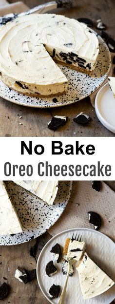 No Bake Oreo Cheesecake. Rich, creamy, just like a regular cheesecake! This cookies and cream flavored cheesecake is eggless and no bake! Oreo Brownies, Beste Brownies, No Bake Desserts, Easy Desserts, Delicious Desserts, Dessert Recipes, Easter Recipes, Oreo Cheesecake Recipes, Chocolate Cheesecake