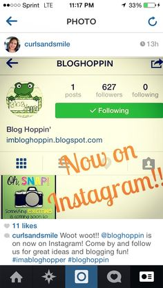 We're on Instagram! Search for bloghoppin to find us!