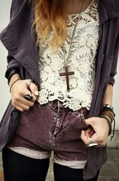 1) Lace top from Factory 2) Black shorts or jeggings and long necklace.