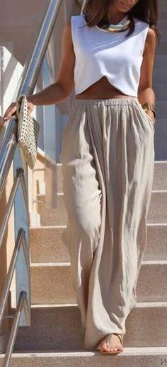 pantalon fluide super large en couleur beige