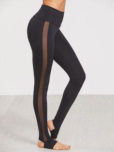 82518fa27895b Shop Black Wide Waistband Mesh Insert Stirrup Leggings online. SheIn offers Black  Wide Waistband Mesh