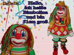 Clown-Mädchen Bimbolina, die Kuschel Puppe für Fasching - gehäkelt von Dadade
