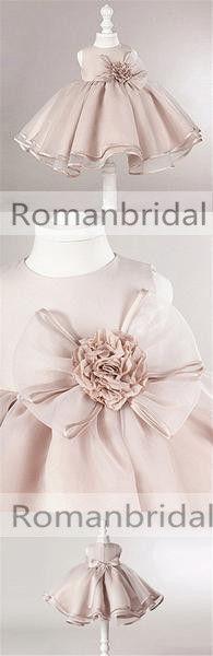 Dusty Pink Satin Tulle Zip Up Flower Girl Dresses, Lovely Little Girl Dresses with Flower Bow, FG030
