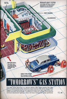 "2) ""Tomorrow's"" Gas Station (Popular Scienxe circa 1946) You may never drive up to a service station that looks exactly like this for it contains almost every attractive improvement with which seven of the biggest oil companies hope to lure customers away from each other when materials and labor are available. In addition to what you can see, most stations will have fluorescent lighting. Some will have transparent glass partitions."