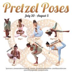NEW CHALLENGE ANNOUNCEMENT . . . . #PretzelPoses . Ever see a photo on IG that looks like the yogi turned themselves into a pretzel? Do you want to tie yourself up in knots too?? . This challenge is going to be fun challenging and let you explore some new poses! Itll be full of twisty bindy fun! Well let you know how we got into the poses and offer modifications too. . Dates: 30th July - 5th August . Hosted by @esteryoga @temyoga @ashtangi_ali . Gracious sponsors @weareskimmedmilk… Yoga Sequences, Yoga Poses, Yoga Journal, Let's Have Fun, Lets Do It, Fun Challenges, Yoga Everyday, Yoga Challenge, July 5th