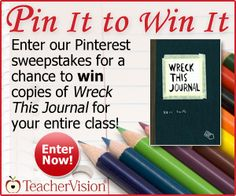 """Enter TeacherVision's Pinterest Sweepstakes by December 3, 2012 for your chance to win copies of """"Wreck This Journal"""" for your entire class! http://www.teachervision.fen.com/literature-guide/printable/72699.html #wreckthisjournalsweeps"""