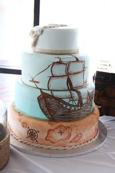 pirate ship wedding cake for beach wedding